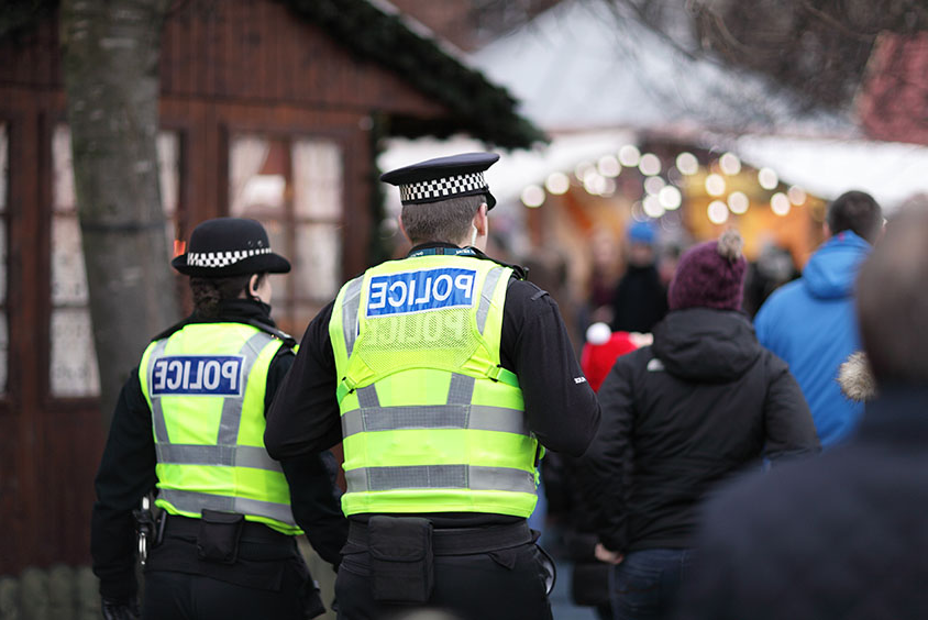 British police officers on patrol