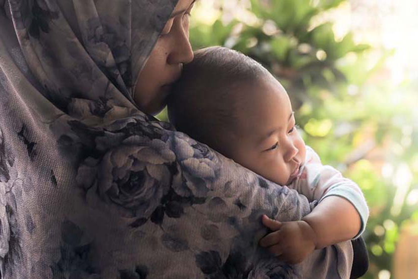 A mother and baby in Indonesia